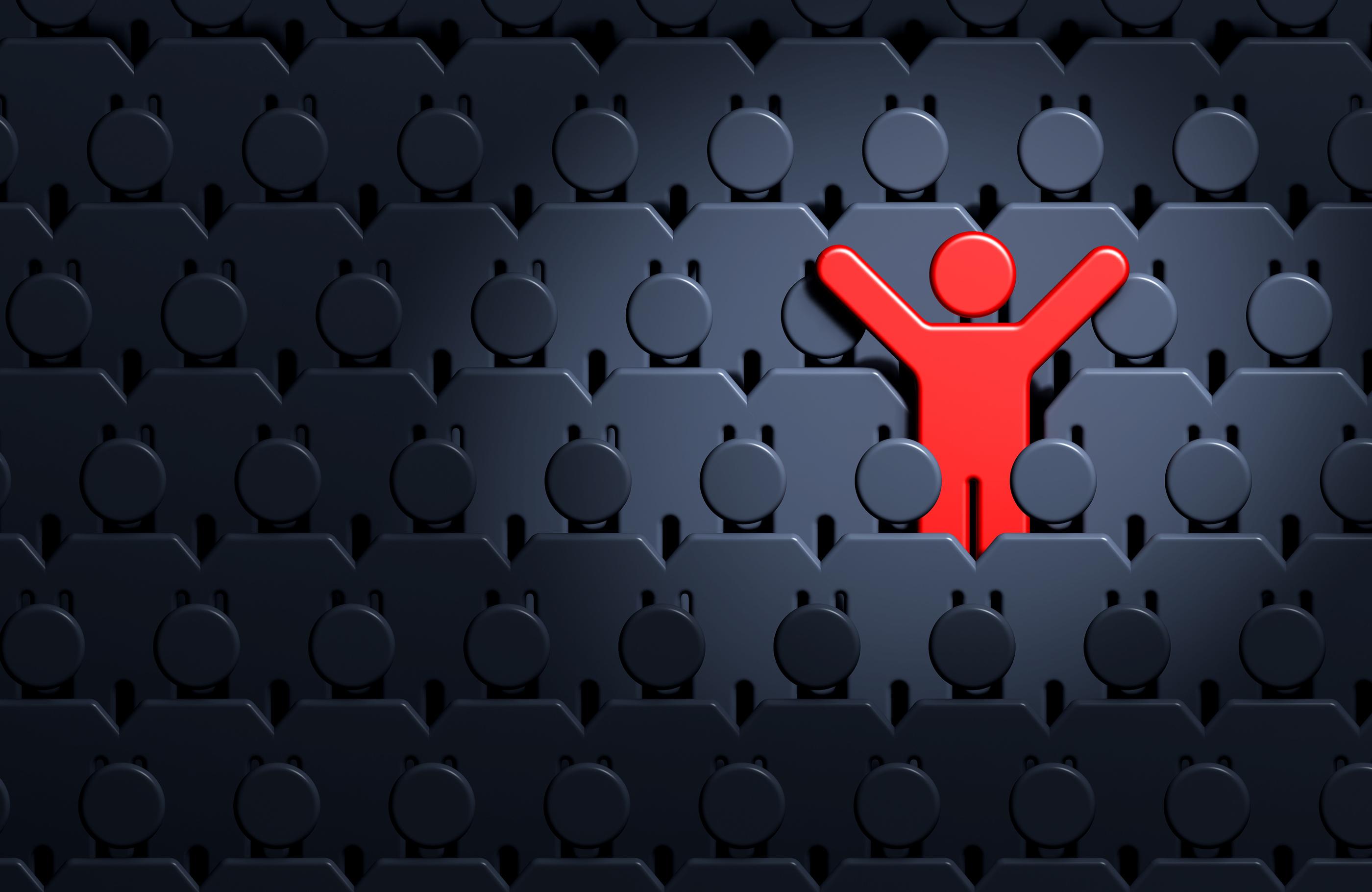 Red stickman cheering - bandv Hampshire pr agency