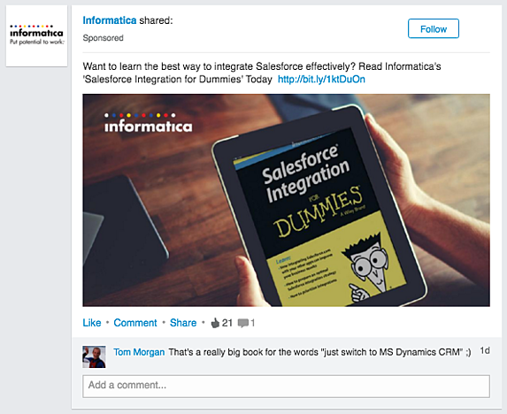 LinkedIn Sponsored Update advertising